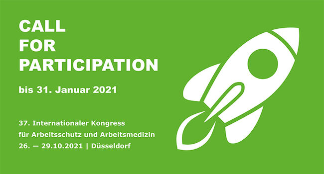 Die Grafik zeigt den Call for Participation für den Kongress der A+A 2021